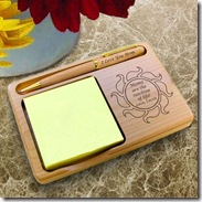 Sunshine Wooden Note Pad & Pen Holder