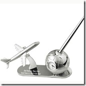 Airplane & Globe Clock and Pen Set