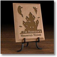 HauntedHouseWoodenPlaque