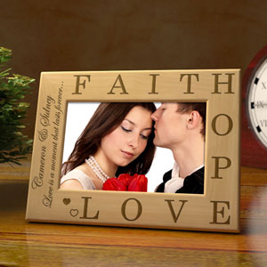 Faith, Hope, Love Wooden Picture Frame