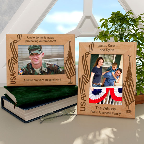 American Flag & Patriotic Wooden Picture Frame