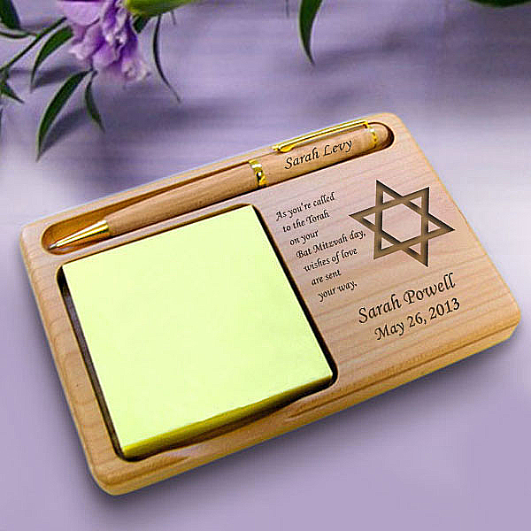 Bar/Bat Mitzvah Wooden Notepad & Pen Holder