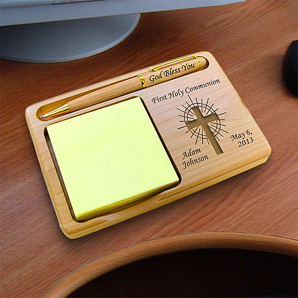 Holy Cross Wooden Notepad & Pen Holder