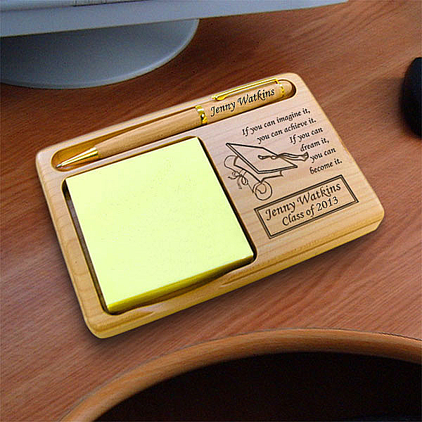 Graduation Cap Wooden Notepad & Pen Holder