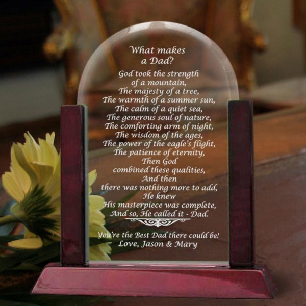 What Makes a Dad Glass Arch Keepsake with Wooden Base