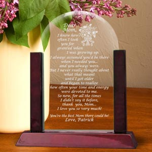 Mom Poem Glass Arch Keepsake with Wooden Base
