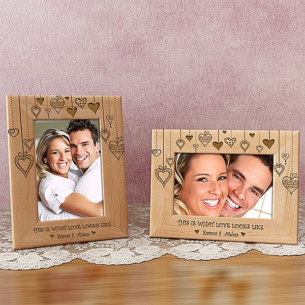 Rain of Hearts Wooden Picture Frame