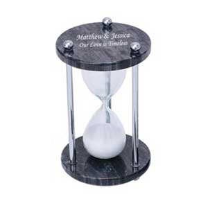 Black Marble & Glass Sand Timer