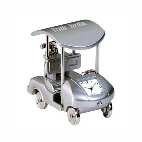 Silver Golf Cart Clock