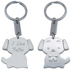 Cat & Dog Satin Silver Key Chain