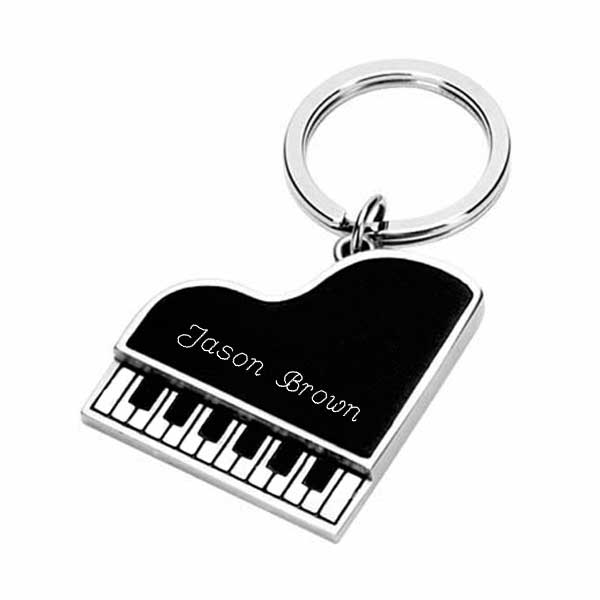 Silver Plated Piano Shaped Key Chain