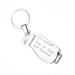 Silver Plated Golf Bag Key Chain