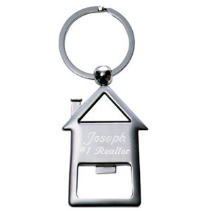 Satin Silver House Shaped Opener Key Chain