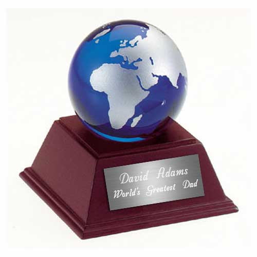 Glass Globe Paperweight with Wooden Base
