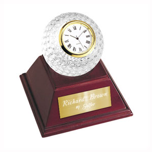 Crystal Golf Ball Clock with Wooden Base
