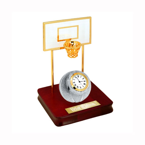 Crystal Basketball Clock Set