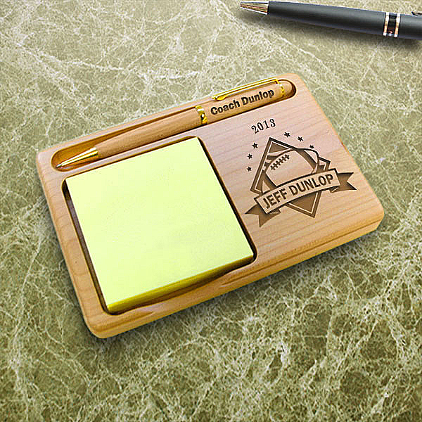 Football All-Star Wooden Notepad & Pen Holder