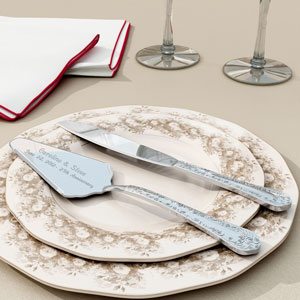 Silver Cake Knife and Server Set