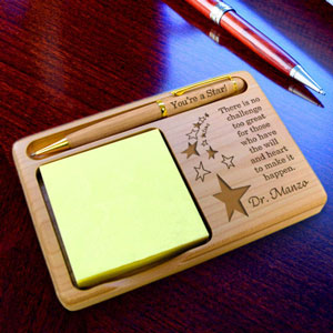 Make It Happen Wooden Notepad & Pen Holder