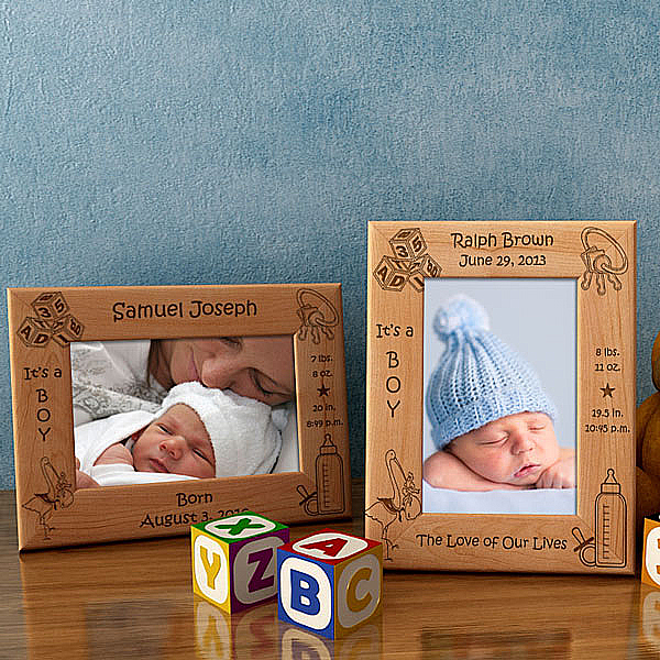 Birth Announcement Wooden Picture Frame - Boy