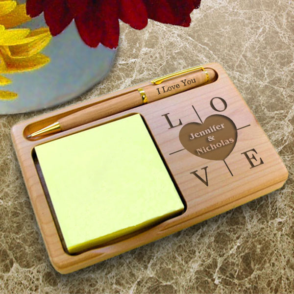 Heart of Love Wooden Notepad & Pen Holder