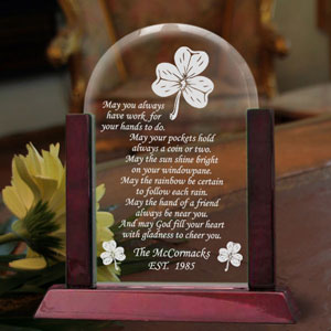 Irish Blessing Glass Arch Keepsake with Wooden Base