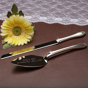 Crystal Accents Cake Knife and Server Set
