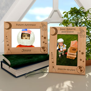 Astronaut & Rocketship Wooden Picture Frame