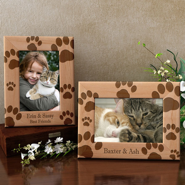 Kitty Paw Prints Wooden Picture Frame