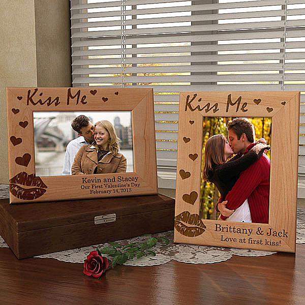 Kiss Me Wooden Picture Frame