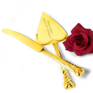 Gold Plated Heart-Shaped Cake Knife and Server Set