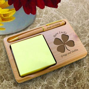 Lucky Four Leaf Clover Wooden Notepad & Pen Holder
