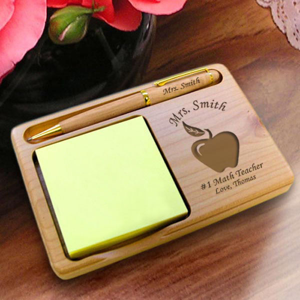 Teacher's Apple Wooden Notepad & Pen Holder