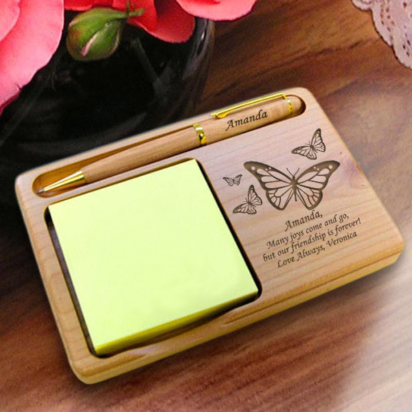 Butterfly Wooden Notepad & Pen Holder