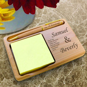 You & I Wooden Notepad & Pen Holder