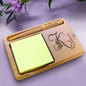 Flower Initial Wooden Notepad & Pen Holder