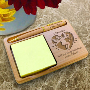 Valentine Cupid Wooden Notepad & Pen Holder
