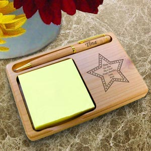 Star Wooden Notepad & Pen Holder
