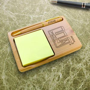 Flame Initial Wooden Notepad & Pen Holder