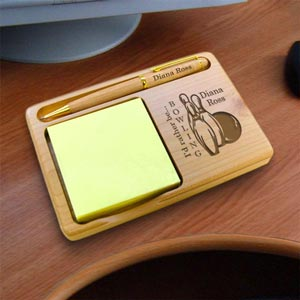 Bowling Wooden Notepad & Pen Holder