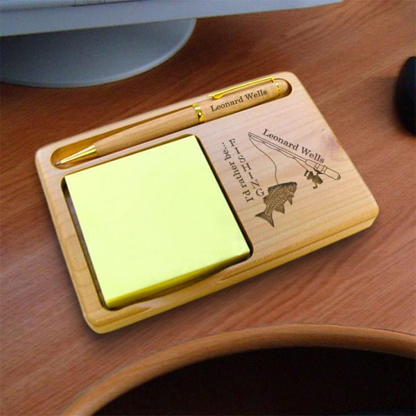Fishing Wooden Notepad & Pen Holder