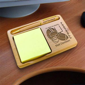 Football Wooden Notepad & Pen Holder
