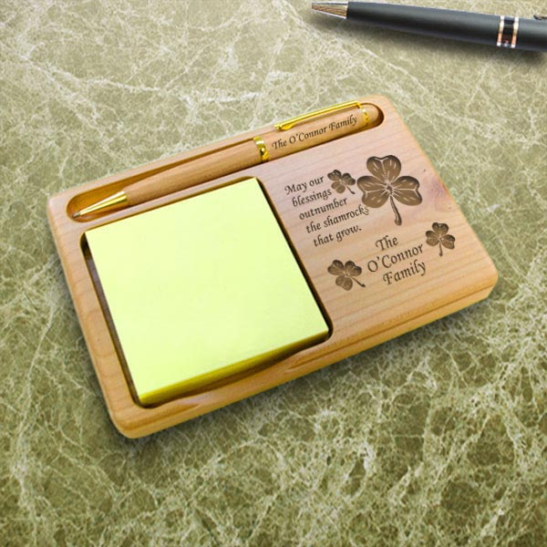Irish Blessing Wooden Notepad & Pen Holder