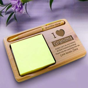 I Love...Wooden Notepad & Pen Holder