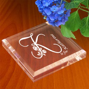 Flower Initial Keepsake & Paperweight