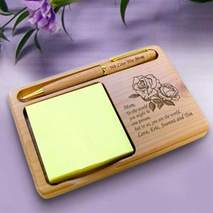 Flower Wooden Notepad & Pen Holder