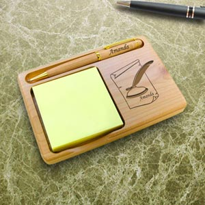 Writer Wooden Notepad & Pen Holder