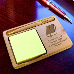 Bible Wooden Notepad & Pen Holder