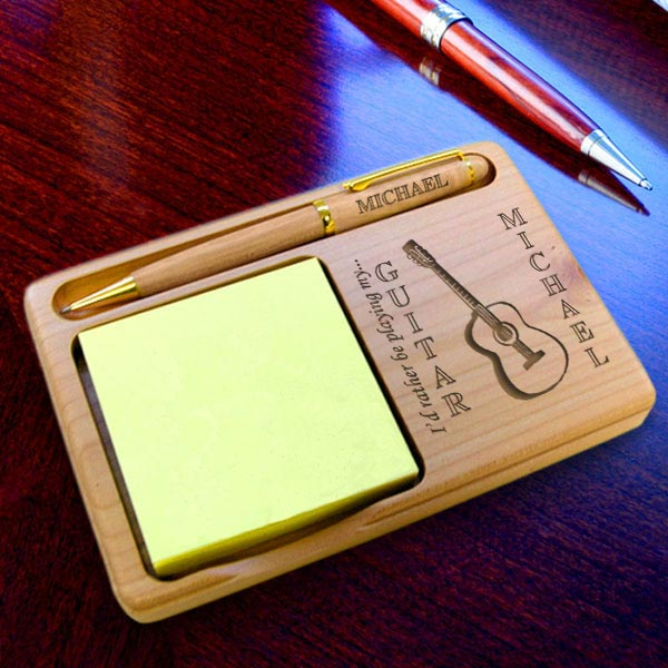 Guitar Wooden Notepad & Pen Holder