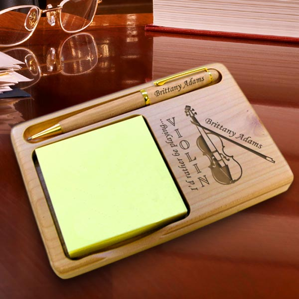 Violin Wooden Notepad & Pen Holder